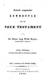 Kritisch exegetischer Kommentar uber das Neue Testament: Band 6