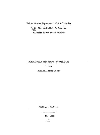 Distribution and Status of Waterfowl in the Missouri River Basin PDF