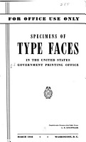 Specimens of Type Faces in the United States Government Printing Office PDF