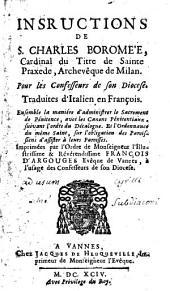 Instructions de Saint Charles Borromée pour les confesseurs de son Diocèse