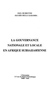 GOUVERNANCE NATIONALE ET LOCALE EN AFRIQUE SUB-SAHARIENNE