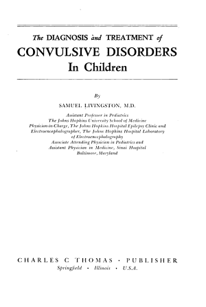 The Diagnosis and Treatment of Convulsive Disorders in Children PDF