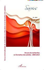 Dix ans de recherches en formation des adultes : 2003-2013