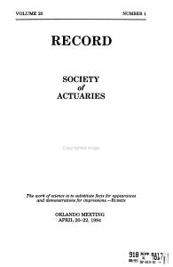 Record   Society of Actuaries PDF