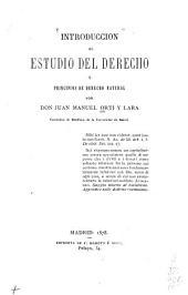 Introducción al estudio del derecho y principios de derecho natural