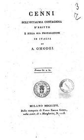 Cenni sull'ottalmia contagiosa d'Egitto e sulla sua propagazione in Italia di A. Omodei