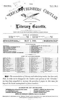 American Literary Gazette and Publishers  Circular Book