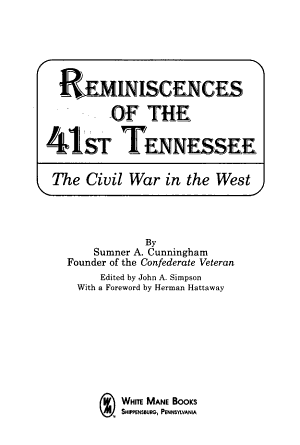Reminiscences of the 41st Tennessee PDF