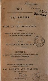 Lectures on the book of the Revelation. Lect. 1