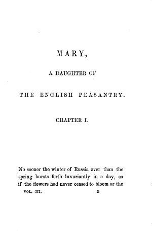 Mary  a daughter of the English peasantry  by the author of  Highland sports and pastimes