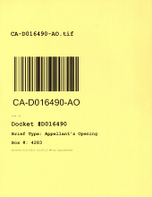 California. Court of Appeal (4th Appellate District). Division 1. Records and Briefs: D016490, Appellant's Opening