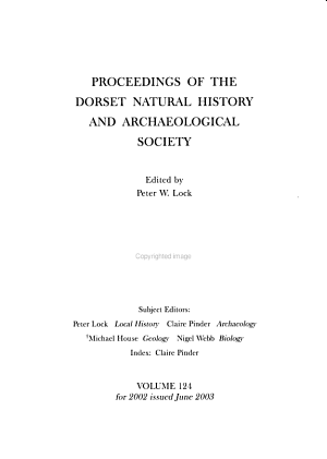 Proceedings of the Dorset Natural History and Archaeological Society