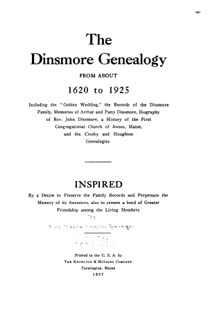 The Dinsmore Genealogy from about 1620 to 1925
