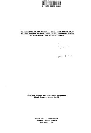 An Assessment of the Skipjack and Baitfish Resources of Northern Mariana Islands  Guam  Palau  Federated States of Micronesia  and Marshall Islands PDF