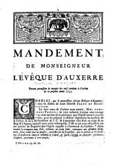 Mandement de Monseigneur l'évêque d'Auxerre, portant permission de manger des oeufs pendant le carême de la présente année 1733[Livre]