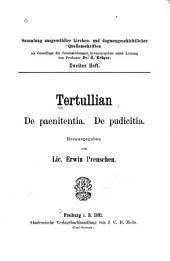 Tertullian: De paenitentia. De pudicitia