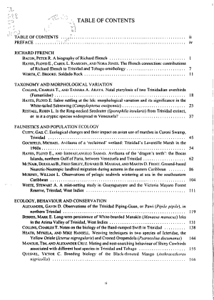 Studies in Trinidad and Tobago ornithology honouring Richard ffrench PDF