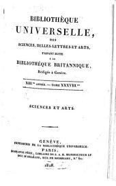 Bibliothèque universelle des sciences, belles-lettres, et arts: Volume 38