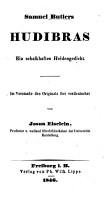 Samuel Butlers Hudibras  Ein schalkhaftes Heldengedicht  Im Versmasse des Originals frei verdeutschet von Josua Eiselein   With plates   PDF