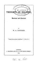 Thoughts on Holiness: Doctrinal and Practical