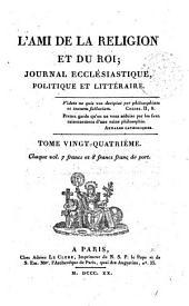 L'Ami de la religion: journal ecclésiastique, politique et littéraire, Volume24