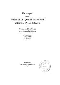 Wymberley Jones De Renne Georgia Library  Wormsloe PDF