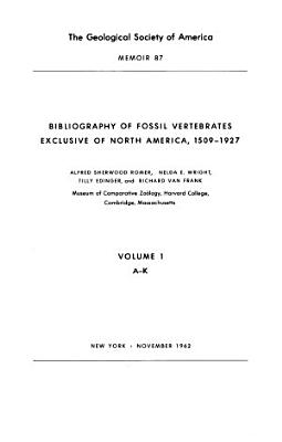Bibliography of Fossil Vertebrates Exclusive of North America  1509 1927