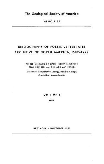 Bibliography of Fossil Vertebrates Exclusive of North America  1509 1927 PDF
