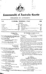Commonwealth Of Australia Gazette Book PDF