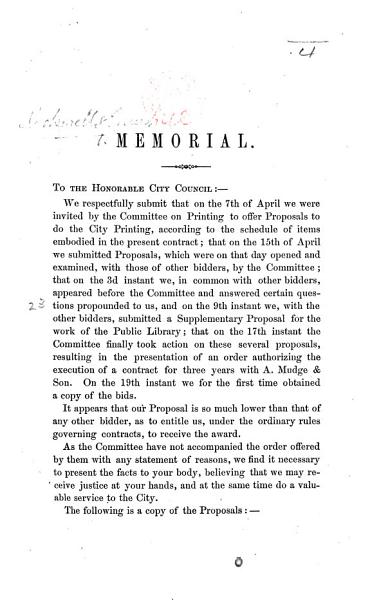 Download Memorial  addressed to the City Council of Boston  Massachusetts  concerning the award of the contract for the city printing   Book