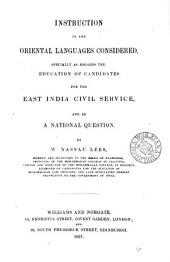 Instruction in the oriental languages considered: Volume 14