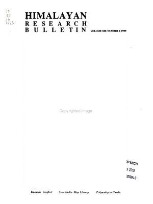 The Himalayan Research Bulletin PDF