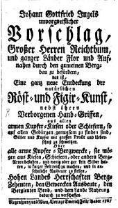 Unvorgreiflicher Vorschlag großer Herren Reichthum ... zu befördern