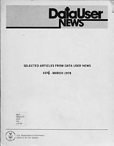 Selected Articles from Data User News  1971   March 1978 PDF