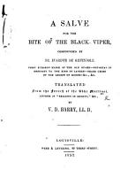 A Salve for the Bite of the Black Viper  compounded by Dr  Evariste de Gypendole   A tract against religious scepticism      Translated from the French     by V  D  Barry PDF
