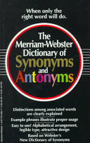 The Merriam Webster Dictionary of Synonyms and Antonyms PDF