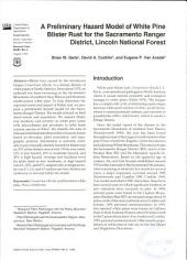 A Preliminary Hazard Model of White Pine Blister Rust for the Sacramento Ranger District, Lincoln National Forest