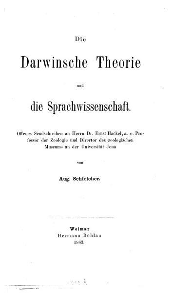 Die Darwinsche Theorie Und Die Sprachwissenschaft