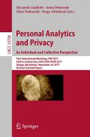Personal Analytics and Privacy  An Individual and Collective Perspective PDF