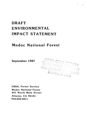 Modoc National Forest  N F    Land and Resource s  Management Plan  LRMP
