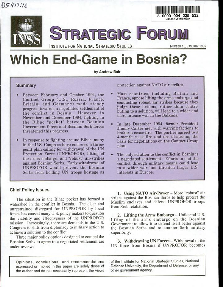 Which End-game in Bosnia?