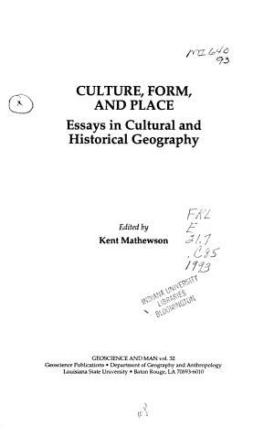 Culture, Form, and Place