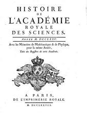 Histoire de l'Académie Royale des Sciences: avec les mémoires de mathématique et de physique pour la même année : tirés des registres de cette Académie. 1775 (1778)