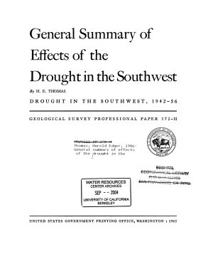 General Summary of Effects of the Drought in the Southwest