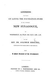 Address Delivered on Laying the Foundation stone of the Intended New Synagogue  on Wednesday  5th Iyar  10th May  5597  A M  PDF