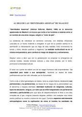 """AL HILO DE LAS """"IDENTIDADES ASESINAS"""" DE MAALOUF"""