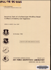 Sensitivity Tests of a Surface layer Windflow Model to Effects of Stability and Vegetation PDF