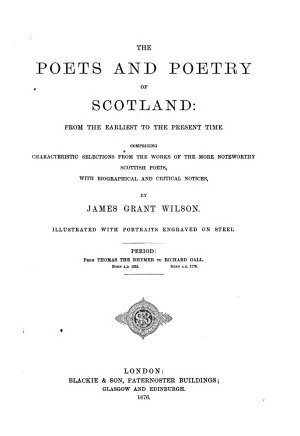 The Poets and Poetry of Scotland from the Earliest to the Present Time0 PDF