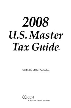 U S  Master Tax Guide 2008 PDF