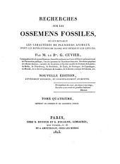 Recherches sur les ossemens fossiles: où l'on rétablit les caractères de plusieurs animaux dont les révolutions du globe ont détruit les espèces. Contenant les ruminans et les carnassiers fossils, Volume4